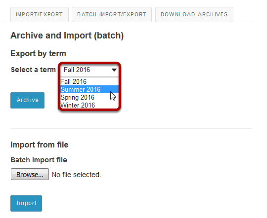 Select a term from the drop-down menu.