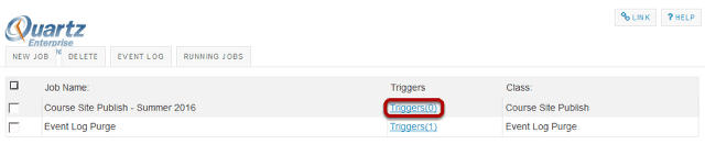 Select the Triggers link to add a trigger.