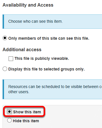Select Show this item, then click Update.